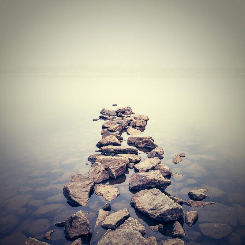 Minimalist misty landscape